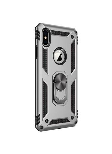 Microsonic Apple iPhone XS Max Kılıf Military Ring Holder Gümüş Gümüş